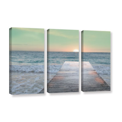 Brushstone Sunrise Dock 3-pc. Gallery Wrapped Canvas Wall Art