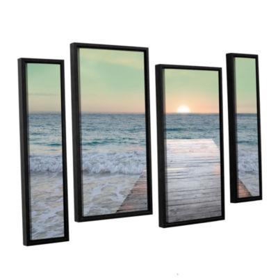 Brushstone Sunrise Dock 4-pc. Floater Framed Staggered Canvas Wall Art