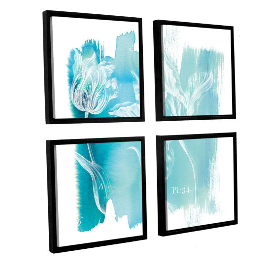 Brushstone Water Wash I 4-pc. Square Floater Framed Canvas Wall Art