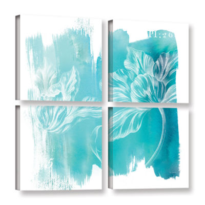 Brushstone Water Wash II 4-pc. Square Floater Framed Canvas Wall Art
