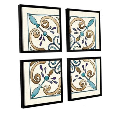 Brushstone Coastal Breeze Tile I 4-pc. Square Floater Framed Canvas Wall Art