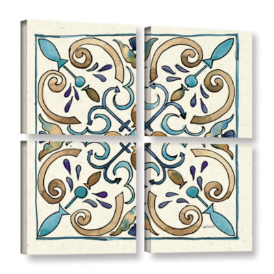 Brushstone Coastal Breeze Tile I 4-pc. Square Gallery Wrapped Canvas Wall Art