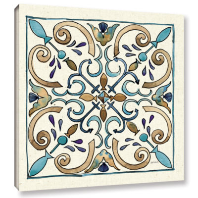 Brushstone Coastal Breeze Tile I Gallery Wrapped Canvas Wall Art