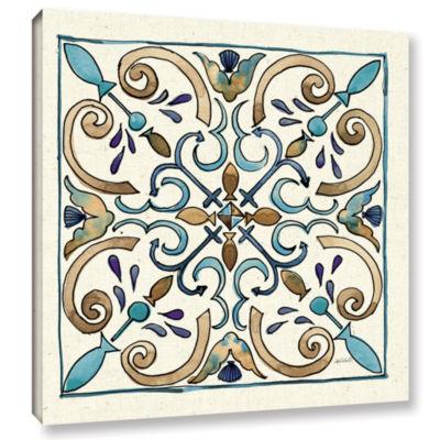 Brushstone Coastal Breeze Tile I Gallery Wrapped Canvas Wall Art