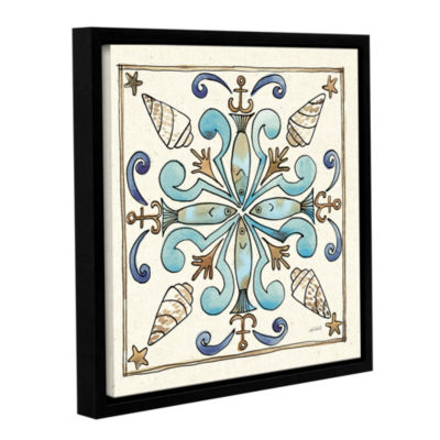 Brushstone Coastal Breeze Tile IV Gallery WrappedFloater-Framed Canvas Wall Art