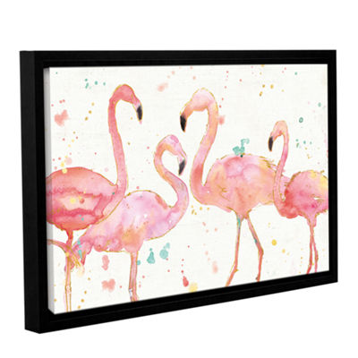 Brushstone Flamingo Fever I Gallery Wrapped Floater-Framed Canvas Wall Art