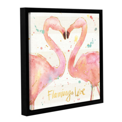 Brushstone Flamingo Fever II Gallery Wrapped Floater-Framed Canvas Wall Art