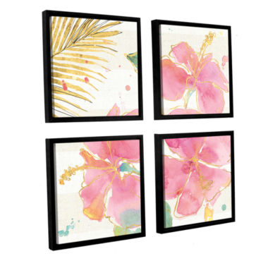Brushstone Flamingo Fever VII 4-pc. Square FloaterFramed Canvas Wall Art