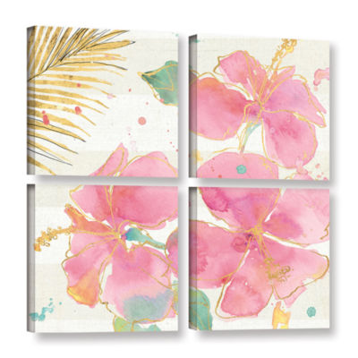 Brushstone Flamingo Fever VII 4-pc. Square GalleryWrapped Canvas Wall Art