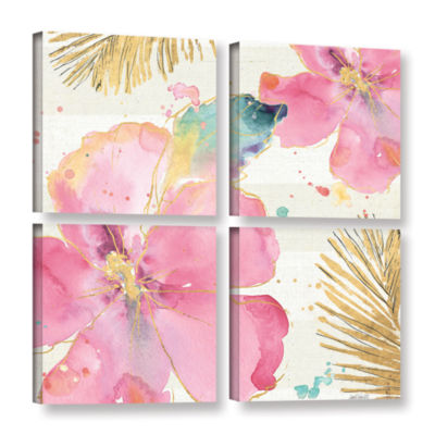 Brushstone Flamingo Fever VIII 4-pc. Square Gallery Wrapped Canvas Wall Art