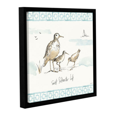 Brushstone Sandpiper Sea I Gallery Wrapped Floater-Framed Canvas Wall Art