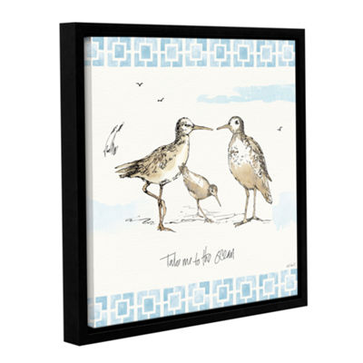 Brushstone Sandpiper Sea III Gallery Wrapped Floater-Framed Canvas Wall Art