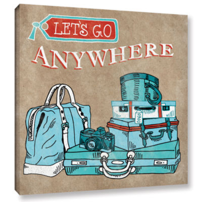 Brushstone Adventure Love Suitcase Taupe Gallery Wrapped Canvas Wall Art