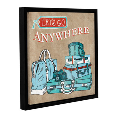 Brushstone Adventure Love Suitcase Taupe Gallery Wrapped Floater-Framed Canvas Wall Art