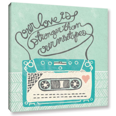 Brushstone Retro Cassette Gray Gallery Wrapped Canvas Wall Art