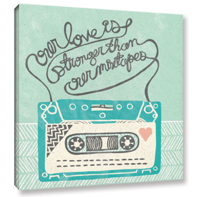Brushstone Retro Cassette Gray Gallery Wrapped Canvas Wall Art