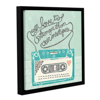 Brushstone Retro Cassette Gray Gallery Wrapped Floater-Framed Canvas Wall Art
