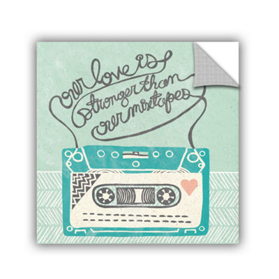 Brushstone Retro Cassette Gray Removable Wall Decal