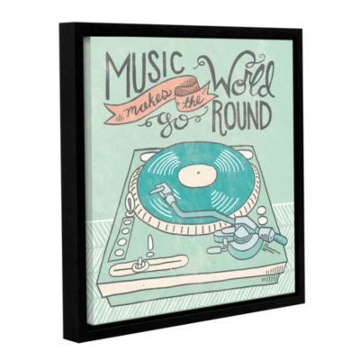 Brushstone Retro Record Player Gray Gallery Wrapped Floater-Framed Canvas Wall Art