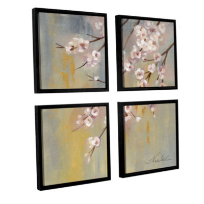 Brushstone Cherry Cloud I 4-pc. Square Floater Framed Canvas Wall Art