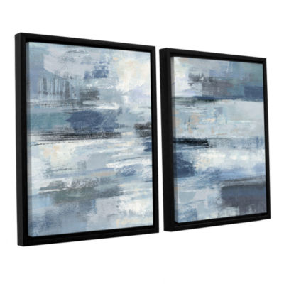 Brushstone Clear Water Indigo and Gray 2-pc. Floater Framed Canvas Wall Art