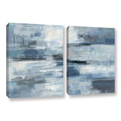Brushstone Clear Water Indigo and Gray 2-pc. Gallery Wrapped Canvas Wall Art