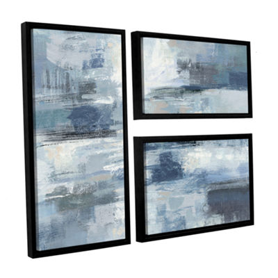 Brushstone Clear Water Indigo and Gray 3-pc. FlagFloater Framed Canvas Wall Art