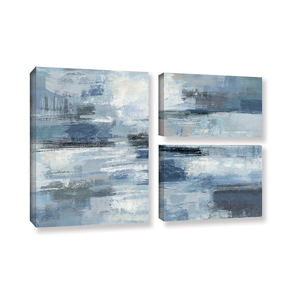 Brushstone Clear Water Indigo and Gray 3-pc. FlagGallery Wrapped Canvas Wall Art