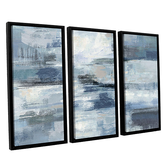 Brushstone Clear Water Indigo and Gray 3-pc. Floater Framed Canvas Wall Art