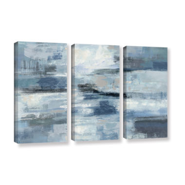 Brushstone Clear Water Indigo and Gray 3-pc. Gallery Wrapped Canvas Wall Art