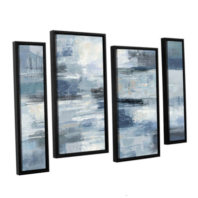 Brushstone Clear Water Indigo and Gray 4-pc. Floater Framed Staggered Canvas Wall Art