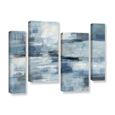Brushstone Clear Water Indigo and Gray 4-pc. Gallery Wrapped Staggered Canvas Wall Art