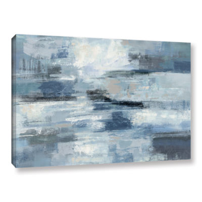 Brushstone Clear Water Indigo and Gray Gallery Wrapped Canvas Wall Art