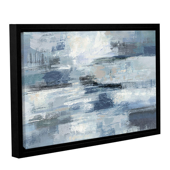 Brushstone Clear Water Indigo and Gray Gallery Wrapped Floater-Framed Canvas Wall Art