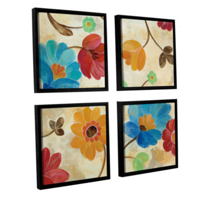 Brushstone Coral and Teal Garden I 4-pc. Square Floater Framed Canvas Wall Art