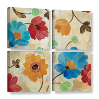 Brushstone Coral and Teal Garden I 4-pc. Square Gallery Wrapped Canvas Wall Art
