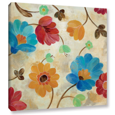 Brushstone Coral and Teal Garden I Gallery WrappedCanvas Wall Art