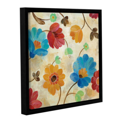 Brushstone Coral and Teal Garden I Gallery WrappedFloater-Framed Canvas Wall Art