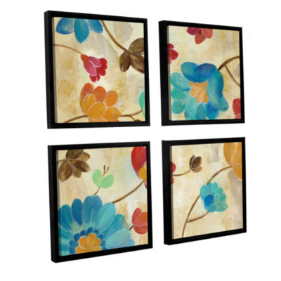 Brushstone Coral and Teal Garden II 4-pc. Square Floater Framed Canvas Wall Art