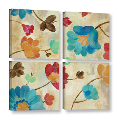 Brushstone Coral and Teal Garden II 4-pc. Square Gallery Wrapped Canvas Wall Art