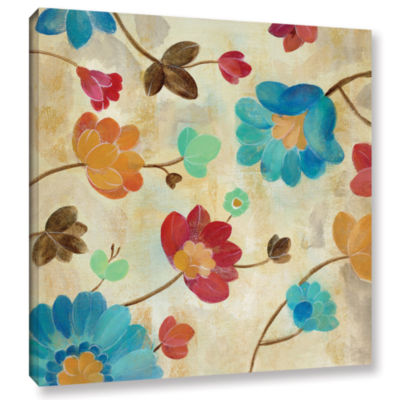 Brushstone Coral and Teal Garden II Gallery Wrapped Canvas Wall Art