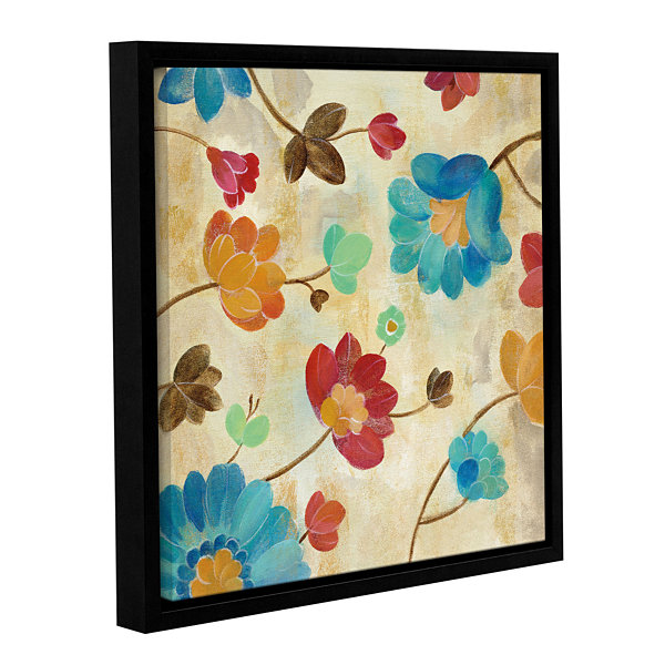 Brushstone Coral and Teal Garden II Gallery Wrapped Floater-Framed Canvas Wall Art