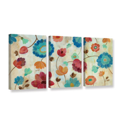 Brushstone Coral and Teal Garden III 3-pc. GalleryWrapped Canvas Wall Art
