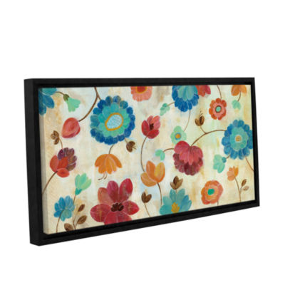 Brushstone Coral and Teal Garden III Gallery Wrapped Floater-Framed Canvas Wall Art