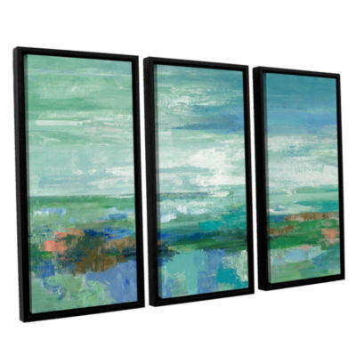 Brushstone Emerald Bay 3-pc. Floater Framed CanvasWall Art
