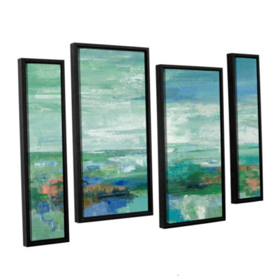 Brushstone Emerald Bay 4-pc. Floater Framed Staggered Canvas Wall Art