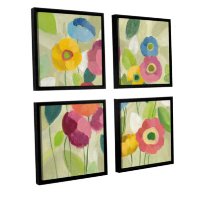 Brushstone Fairy Tale Flowers I 4-pc. Square Floater Framed Canvas Wall Art