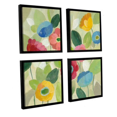 Brushstone Fairy Tale Flowers IV 4-pc. Square Floater Framed Canvas Wall Art