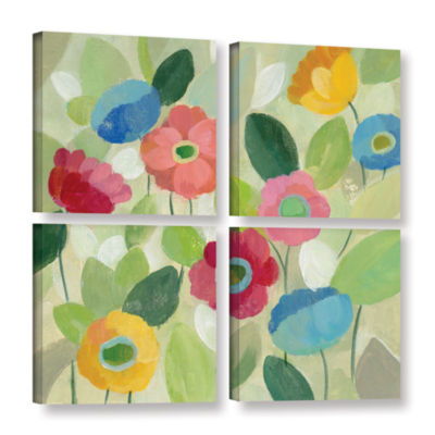 Brushstone Fairy Tale Flowers IV 4-pc. Square Gallery Wrapped Canvas Wall Art