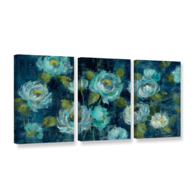 Brushstone Indigo Mums 3-pc. Gallery Wrapped Canvas Wall Art